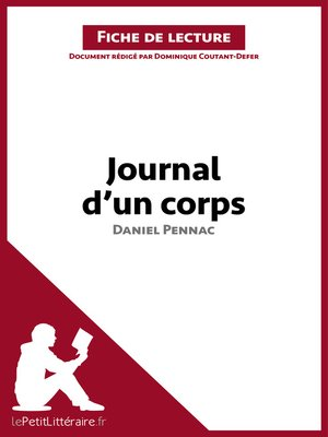 cover image of Journal d'un corps de Daniel Pennac--Fiche de lecture