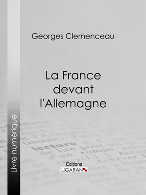 cover image of La France devant l'Allemagne