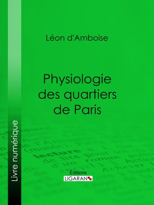 cover image of Physiologie des quartiers de Paris