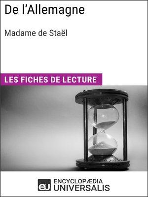 cover image of De l'Allemagne de Madame de Staël