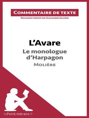 cover image of L'Avare de Molière--Le monologue d'Harpagon