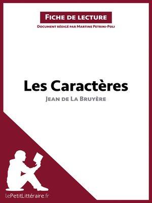 cover image of Les Caractères de Jean de La Bruyère (Fiche de lecture)