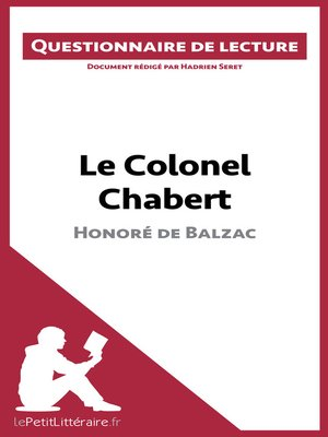 cover image of Le Colonel Chabert de Balzac