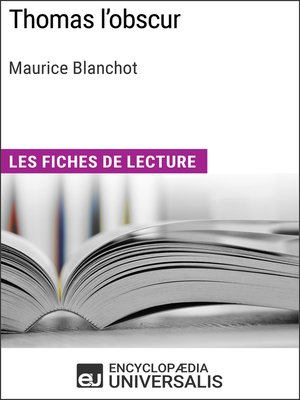 cover image of Thomas l'obscur de Maurice Blanchot