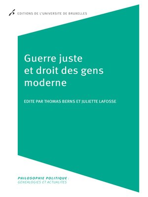 cover image of Guerre juste et droit des gens moderne