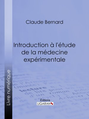 cover image of Introduction à la médecine expérimentale