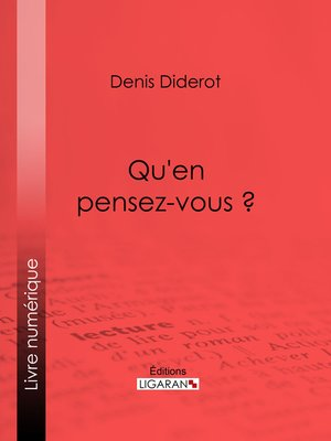 cover image of Qu'en pensez-vous ?