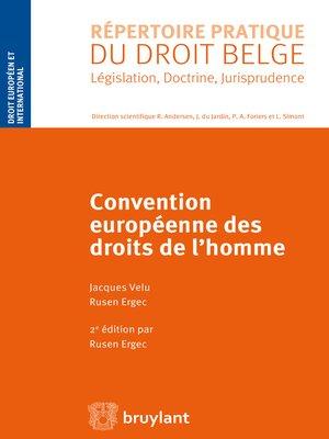 cover image of Convention européenne des droits de l'homme
