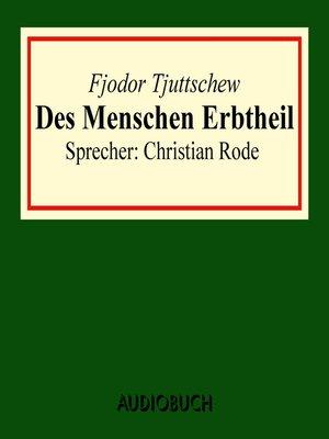 cover image of Der Menschen Erbtheil