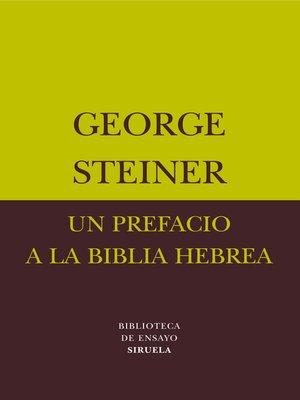 cover image of Un prefacio a la Biblia hebrea
