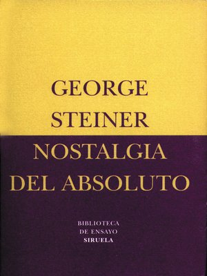 cover image of Nostalgia del absoluto