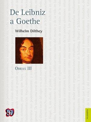 cover image of De Leibniz a Goethe