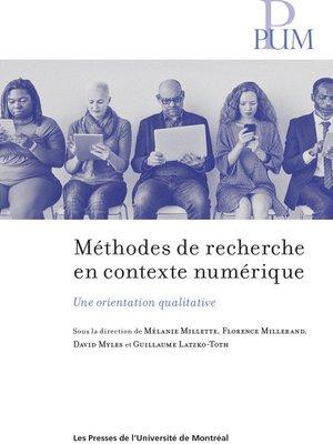 cover image of Méthodes de recherche en contexte numérique