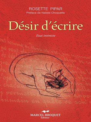 cover image of Désir d'écrire