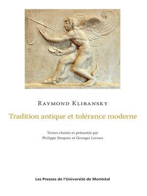 cover image of Tradition antique et tolérance moderne