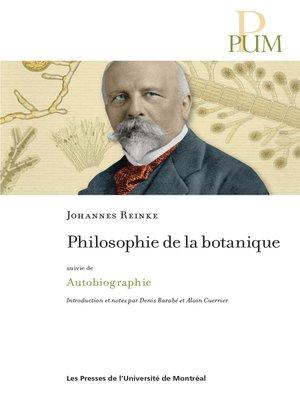 cover image of Philosophie de la botanique
