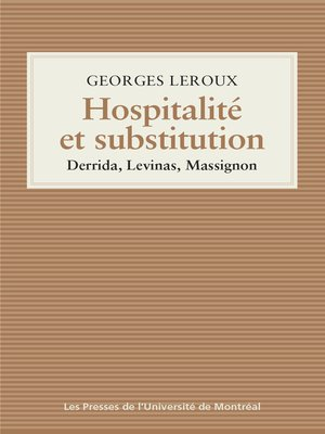 cover image of Hospitalité et substitution