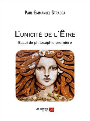 cover image of L'unicité de l'Être