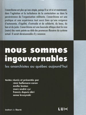 cover image of Nous sommes ingouvernables