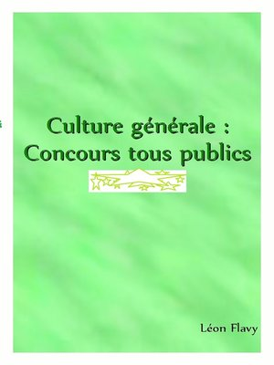 cover image of ORAL DE CULTURE GENERALE