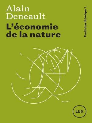 cover image of L'économie de la nature
