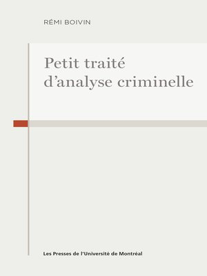cover image of Petit traité d'analyse criminelle