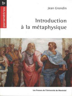 cover image of Introduction à la métaphysique