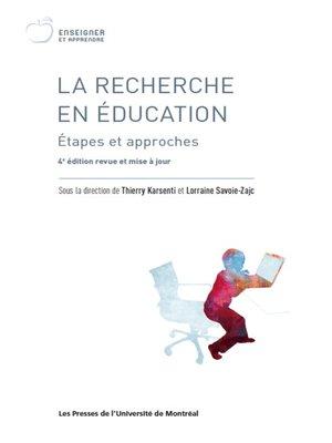 cover image of La recherche en éducation