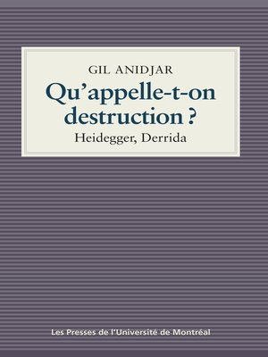 cover image of Qu'appelle-t-on destruction?
