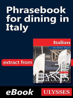 cover image of Phrasebook for dining in Italy