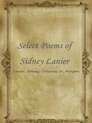cover image of Select Poems Of Sidney Lanier