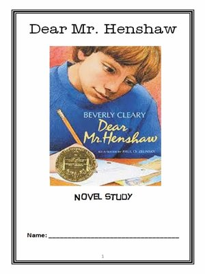 cover image of Dear Mr. Henshaw (Beverly Cleary) Novel Study / Reading Comprehension Journal