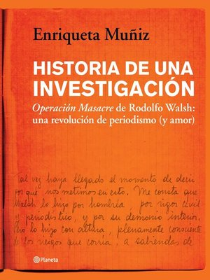 cover image of Historia de una investigación