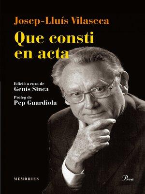cover image of Que consti en acta