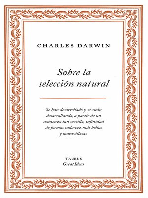 cover image of Sobre la selección natural (Serie Great Ideas 1)