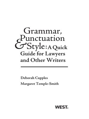 cover image of Grammar, Punctuation, and Style