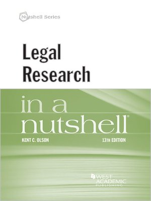 cover image of Legal Research in a Nutshell
