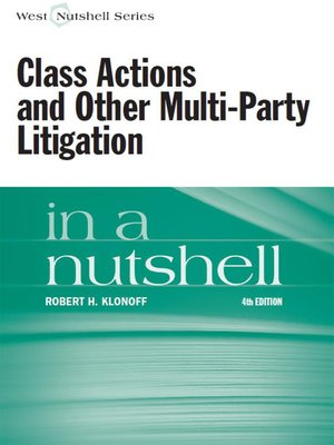 cover image of Class Actions and Other Multi-Party Litigation in a Nutshell, 4th
