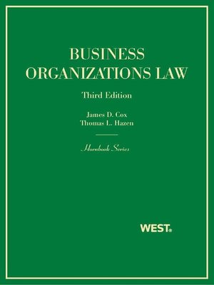 cover image of Cox and Hazen's Business Organizations Law, 3d (Hornbook Series)