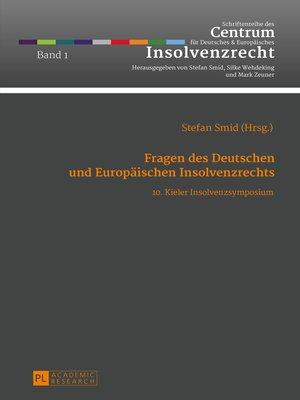 cover image of Fragen des Deutschen und Europaeischen Insolvenzrechts