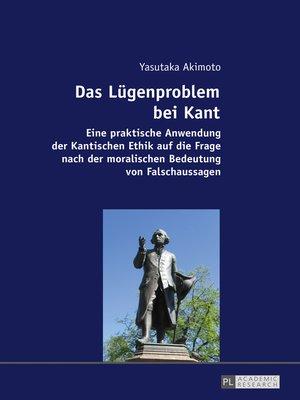 cover image of Das Luegenproblem bei Kant