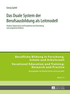 cover image of Das Duale System der Berufsausbildung als Leitmodell