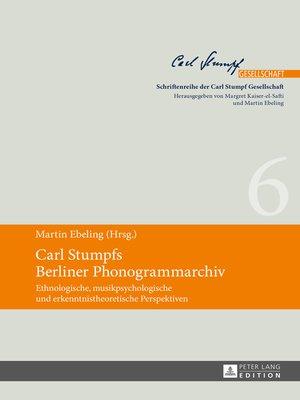 cover image of Carl Stumpfs Berliner Phonogrammarchiv