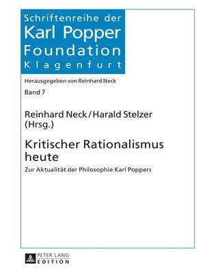 cover image of Kritischer Rationalismus heute