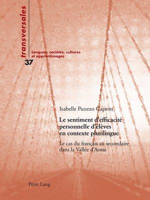 cover image of Le sentiment defficacité personnelle délèves en contexte plurilingue