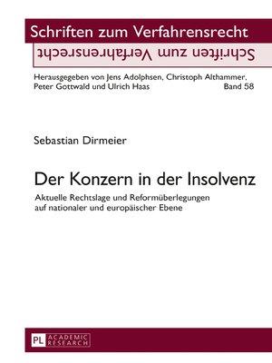 cover image of Der Konzern in der Insolvenz