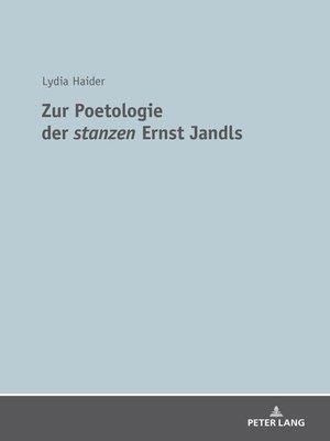 cover image of Zur Poetologie der «stanzen» Ernst Jandls