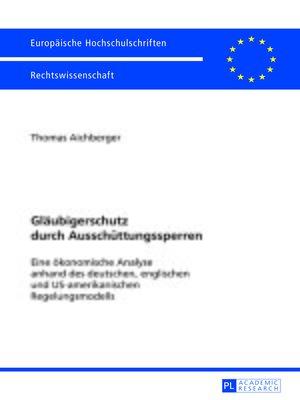 cover image of Glaeubigerschutz durch Ausschuettungssperren