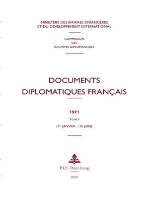 cover image of Documents diplomatiques français