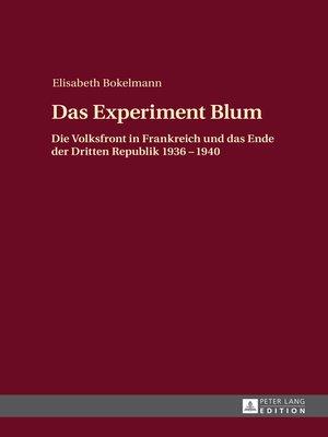 cover image of Das Experiment Blum